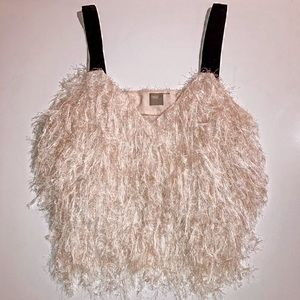 ASOS Luxe faux feather top